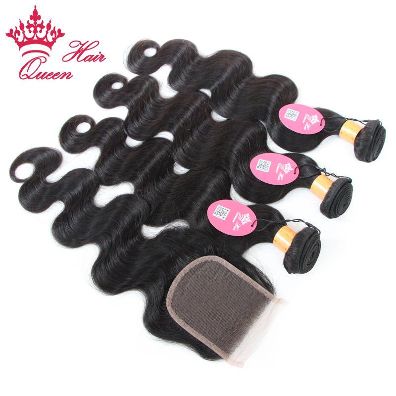 閉鎖4ピースロットの髪の毛のクローズアップ4ピースロットの髪のバンドル閉鎖付き100%未処理のインド体波