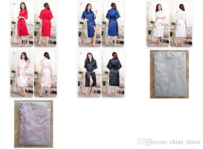 Unisex Herren Damen Damen Solid Plain Rayon Seide lange Robe Pyjama Dessous Nachthemd Kimono Kleid pjs Frauen Kleid 7 Farben # 3749