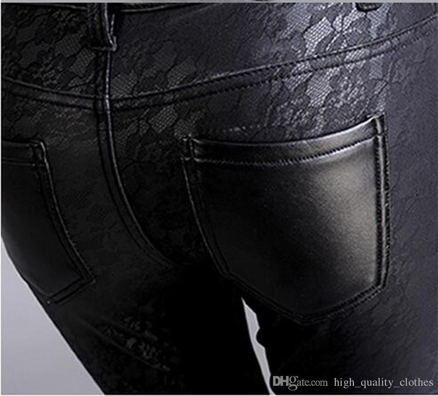 한판 레저 여성 새 겨울 패션 쇼 꽉 작은 연필 바지에 벨벳과 얇은 탄성 허리. S - 4xl