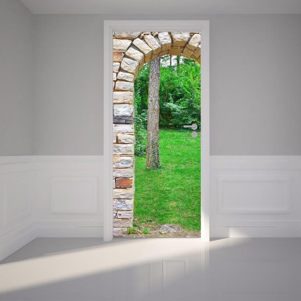 Compre Diy 3d Adesivo De Parede Mural Home Decor Pedra Arco Portão Através  Da Floresta Verde Removível Porta Decole 77 * 200 Cm De Lovercolor, ...