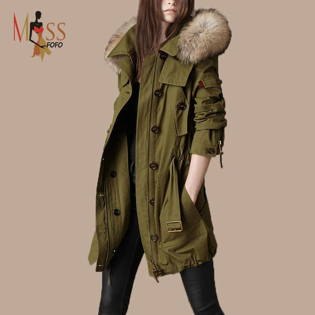 Wonderful 2018 100% Real Fur Casual Women'S Army Green Hooded Coats 2 In 1  WX55