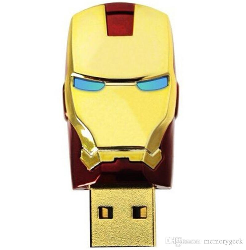 64GB 32GB 16GB 8GB real capacity LED Iron Man Head USB 2.0 USB Flash Drive Pen Grade A Drives Memory stick for iOS Windows Android