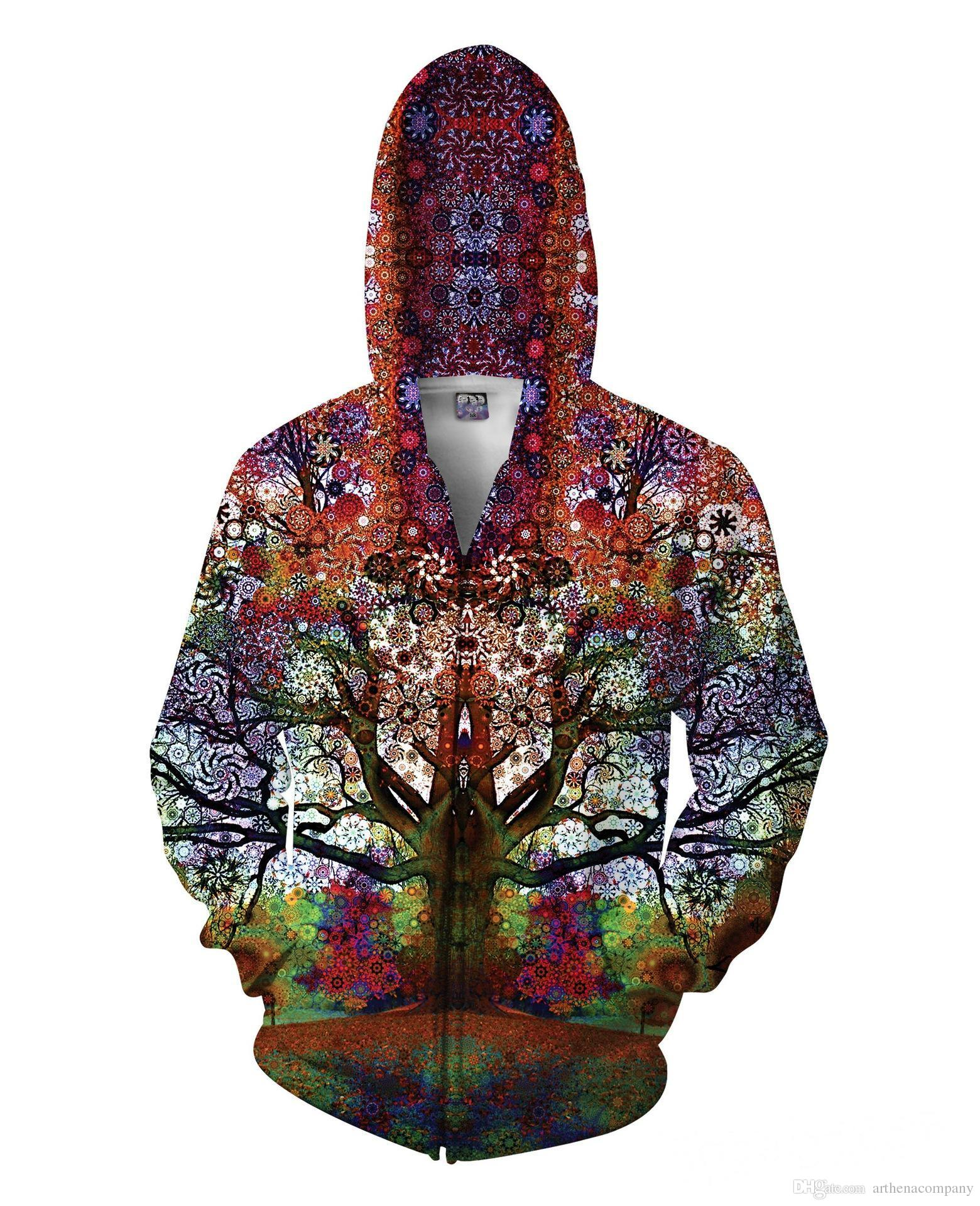 2017 Latest Trip Tree Print Zip Up Sweatshirt Hoodies Jersey ...