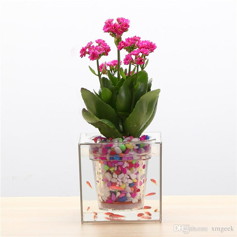 Contemporary Office Desk Fish Tank Plant Pot Flower Decorative Selfwatering Planter For Home With Decorating Ideas