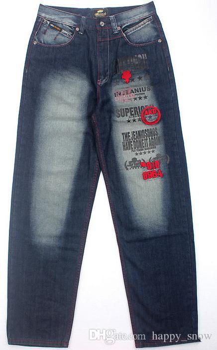 Новый плюс размер хип-хоп мешковатые джинсы мужчины Письмо печати хип-хоп танец брюки скейтборд джинсы свободный стиль самые популярные джинсы для мужчин