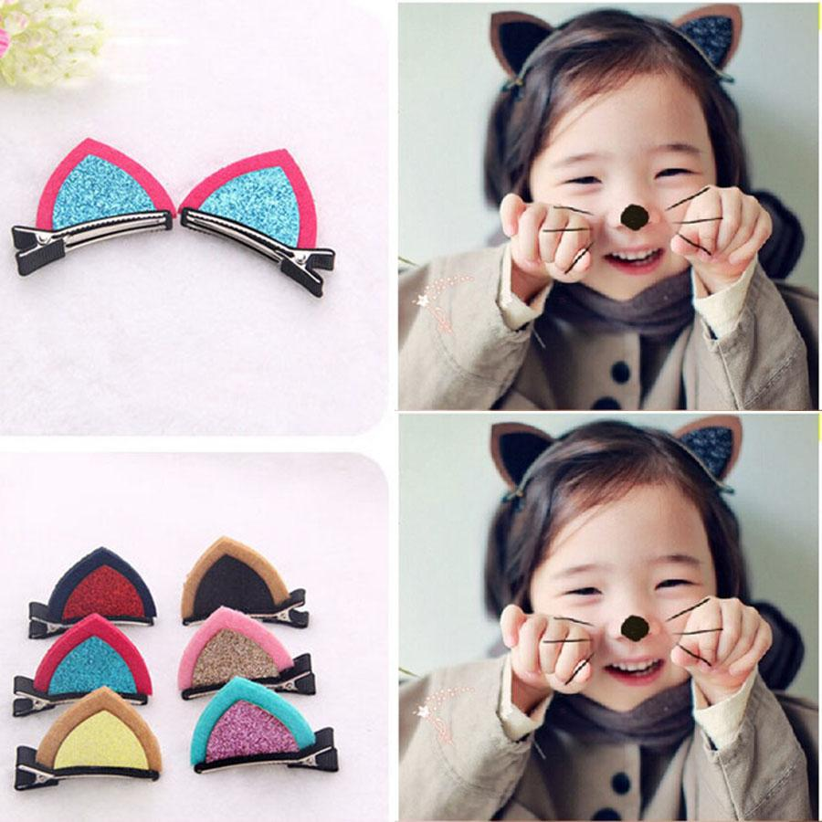 Cute Cat Rabbit Ears Hair Clips for Children Girls Fabric Hair ...