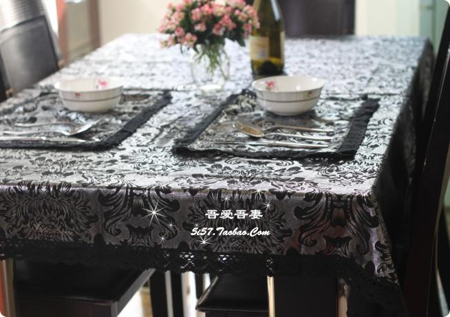 Black Cotton Lace Hot Silver Neoclassical Wallpaper / Tablecloth / Table  Cloth Style Coffee Table Mats Buu 180