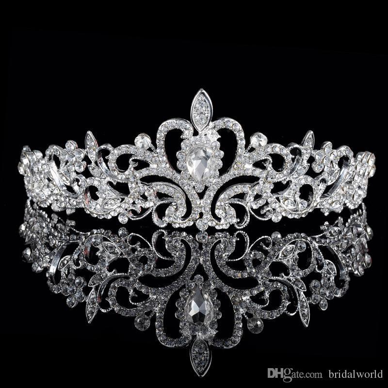 Brillant Perles Cristal De Mariage Couronnes 2016 Nuptiale Cristal Voile Tiara Couronne Bandeau Cheveux Accessoires Partie De Mariage Tiara