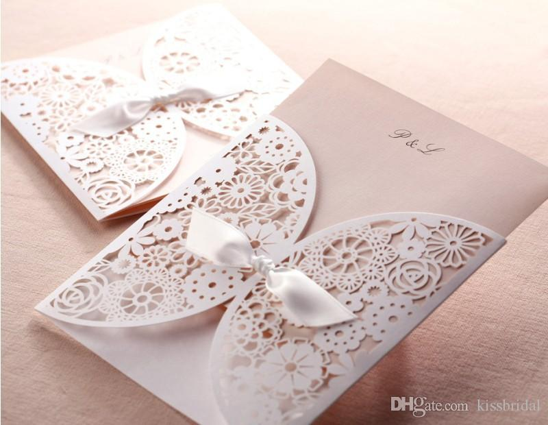 creative hollow lace cut out wedding invitation with bowknot free customized wedding party laser invitation cards printable chinese wedding invitations - Customized Wedding Invitations