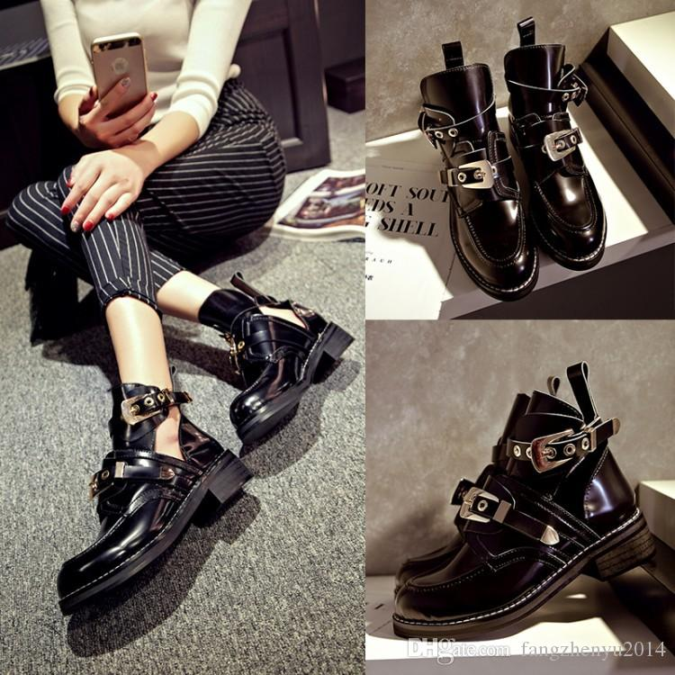 2017 Europe and the United States autumn new fashion casual belt buckle Martin boots boots leather boots