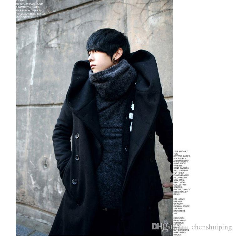 Winter Mens Long Woolen Trench Coat Male Hooded Jacket Coat Korean Style For Men Warm Dress Overcoat Plus Size