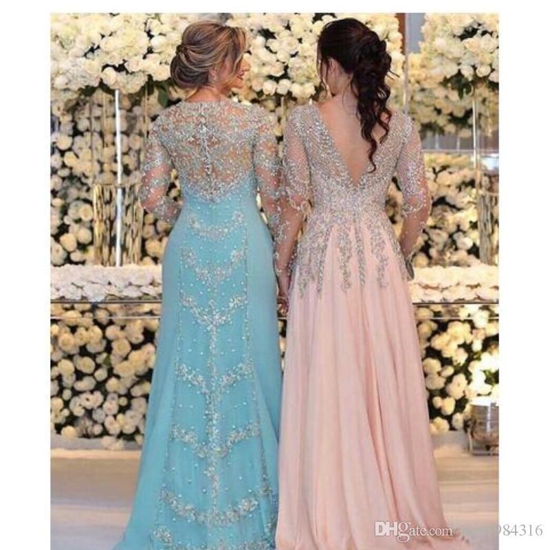 Sparkling Mother Of The Bride Dresses Elegant Jewel/V Neck Long Sleeves Chiffon Prom Dress Sequins Beaded Appliques Plus Size Evening Dress