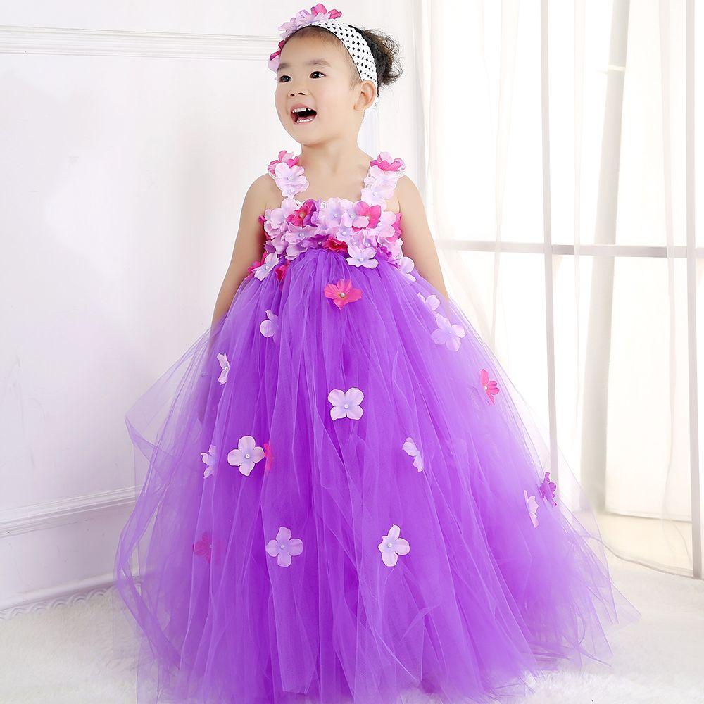 2018 2016 New Purple Flower Fairy Girl Wedding Dress Tutu Cute Baby ...