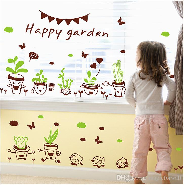 Cute Cartoon Plant Pot Wall Art Mural Decal Sticker Home Art Decoration Wallpaper Poster Happy Day Wall Quote Decal Decor