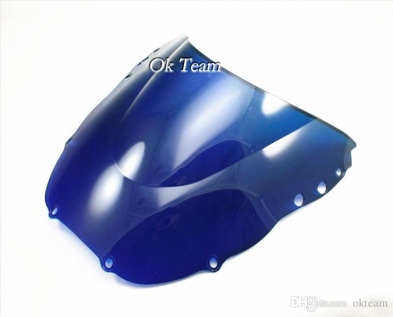 Frete grátis de alta qualidade dupla bolha pára brisas para honda 98-99 cbr900rr 919 1998-1999 preto / transparente / azul
