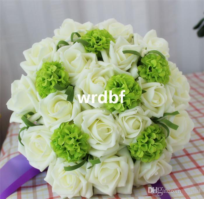 "Bridal Bouquer Dia. 18cm/7"" Artificial Flowers Foam White Rose Silk Green Hydrangea Flower Ball Wedding Bridesmaid Bride Bouquets"