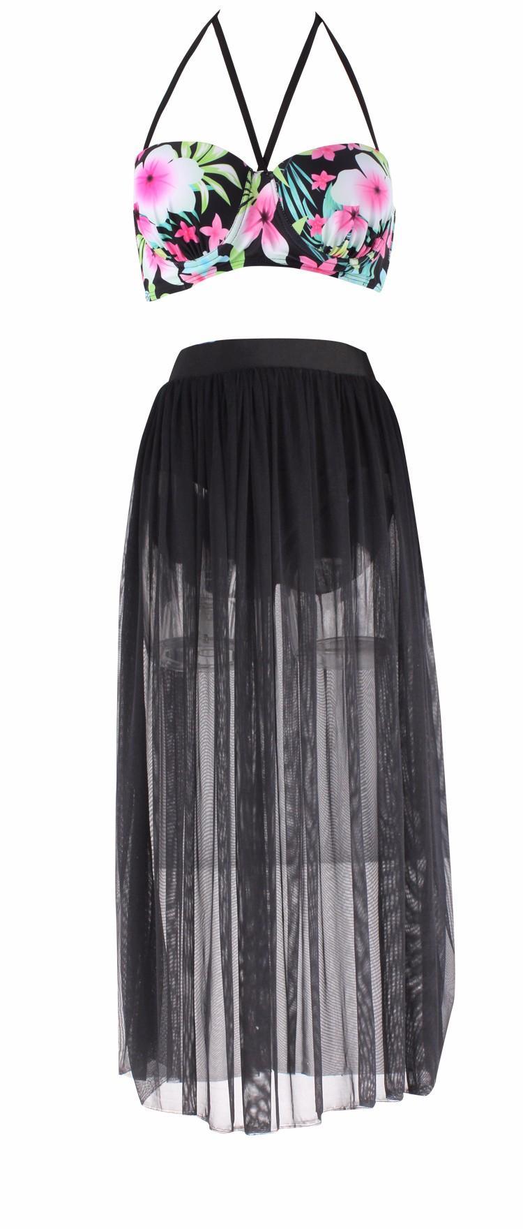 S-4XL высокой талией купальники 2016 новый набор сетки бикини плюс размер купальники для женщин мягкий купальник ретро длинная юбка купальный костюм