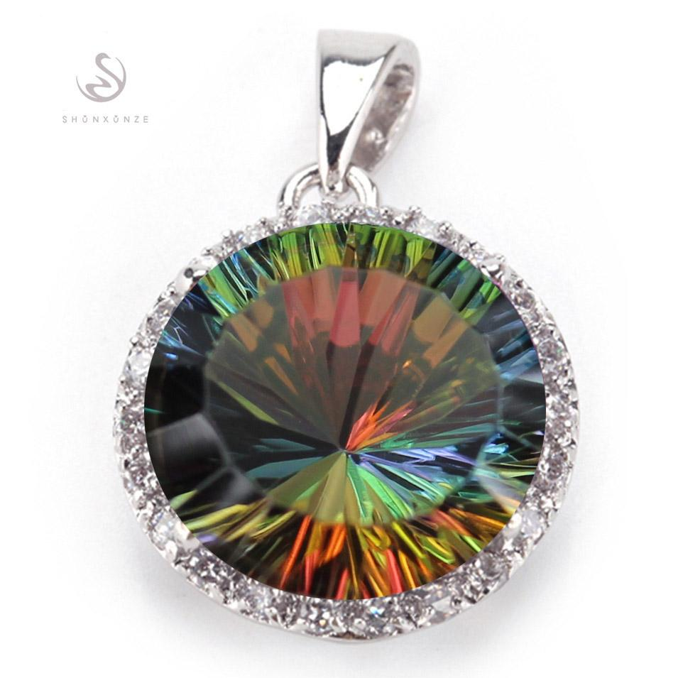 The new product R736-B Best Sellers Noble Generous Rainbow Cubic Zirconia Vintage Silver Plated Promotion Recommend Pendants cute