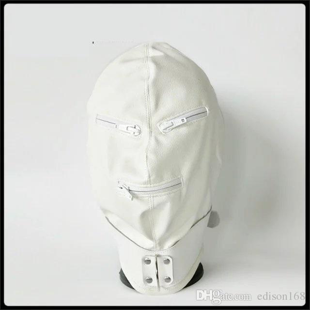 2017 Últimas Pu Pu Bondage Hood Headgear Con Cremallera Eyepatch Mascarilla Perro Esclavo Adulto BDSM Producto Cama Juegos Sex Toy Negro Color blanco