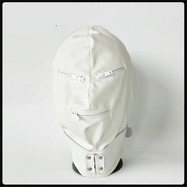 Neueste PU-Leder Bondage Hood Kopfbedeckung mit Reißverschluss Eyepatch Gesicht Maske Hund Sklave Erwachsene BDSM Produkt Bett Games Sex Spielzeug Schwarz Weiß Farbe