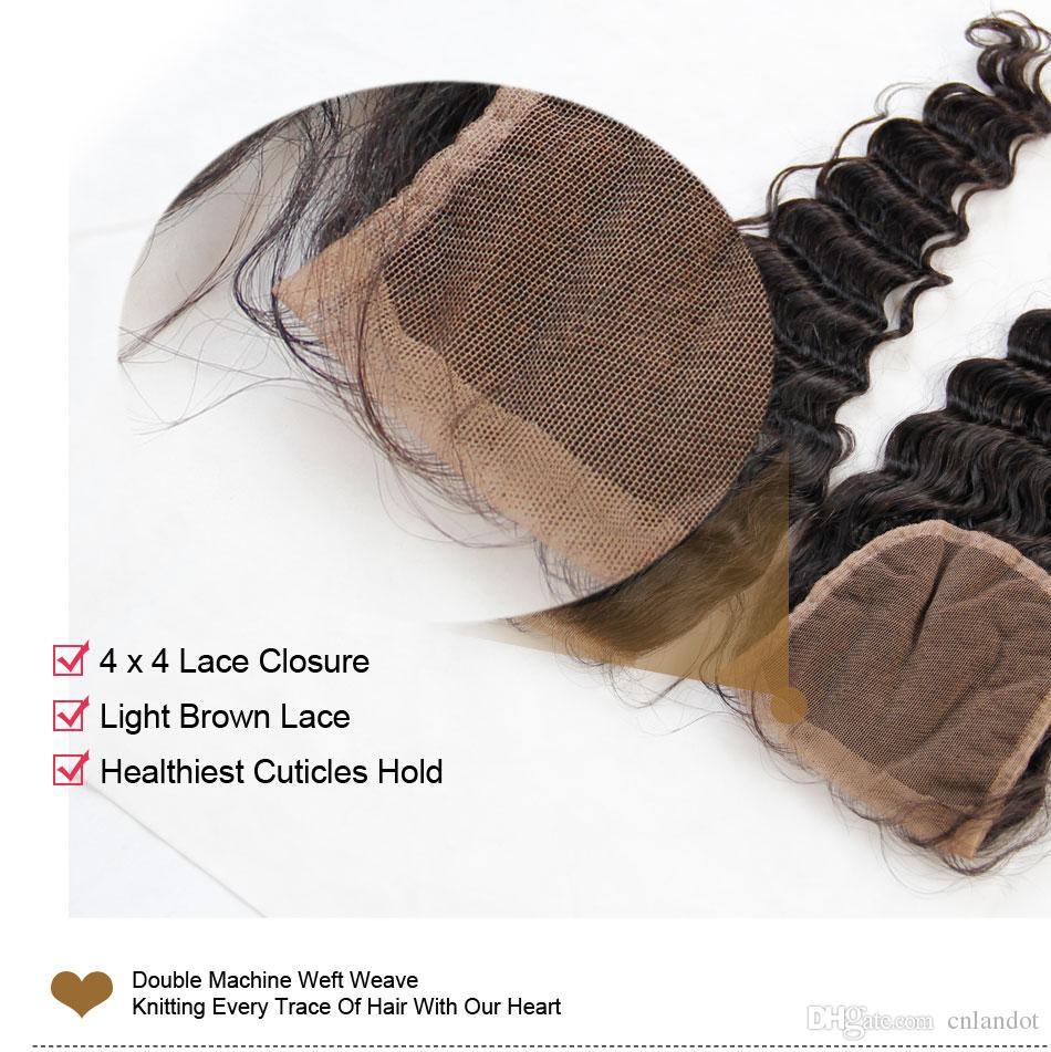 Euraziatische maagdelijke haar diepe golf met sluiting 7a onbewerkt krullend menselijk haar weven 3 bundels en 1 stuk bovenkant kant sluitingen natuurlijke zwarte inslagen