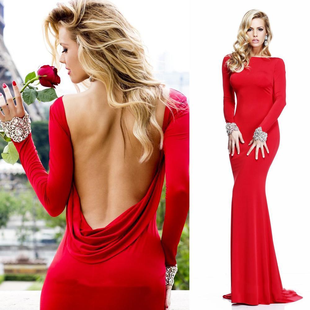 2015 Designer Turkish Red Backless Evening Dress Crystal Long ...