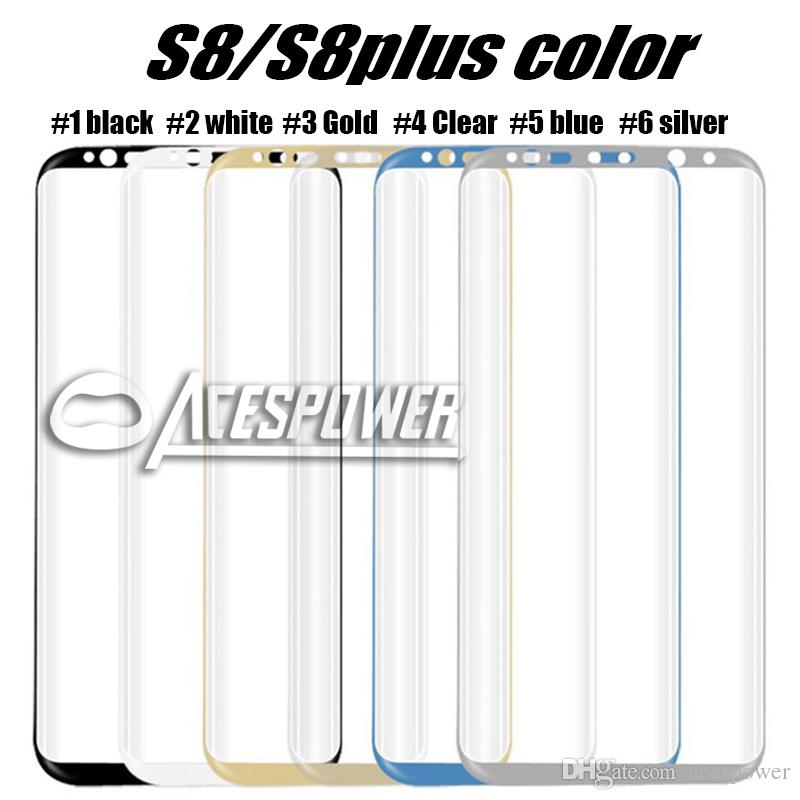For Iphone X Samsung S10 S9 Note8 S8 Plus galaxy Note 9 8 Tempered Glass Full Screen color Protector 3D Curved S7 Edge