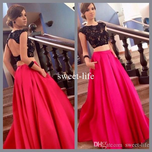 Sexy Backless Two Pieces 2017 A line Prom Dresses Scoop sleeveless Black Lace Appliques Appliques Red Satin Floor-length dress evening wear