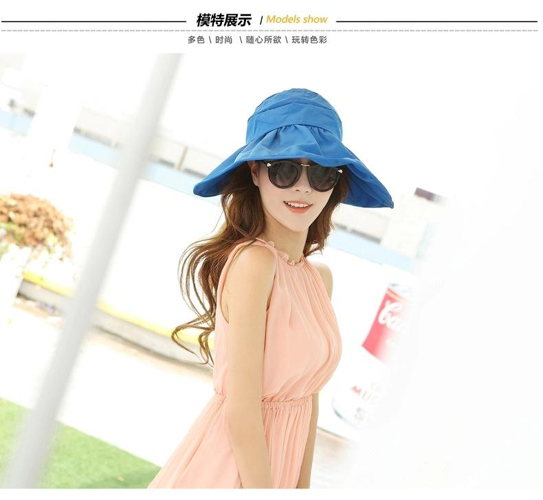Summer Fashion Women Wide Brim Roll Up Empty Top Sun Beach Hat Anti-UV Visors Cap Foldable Mix Colors