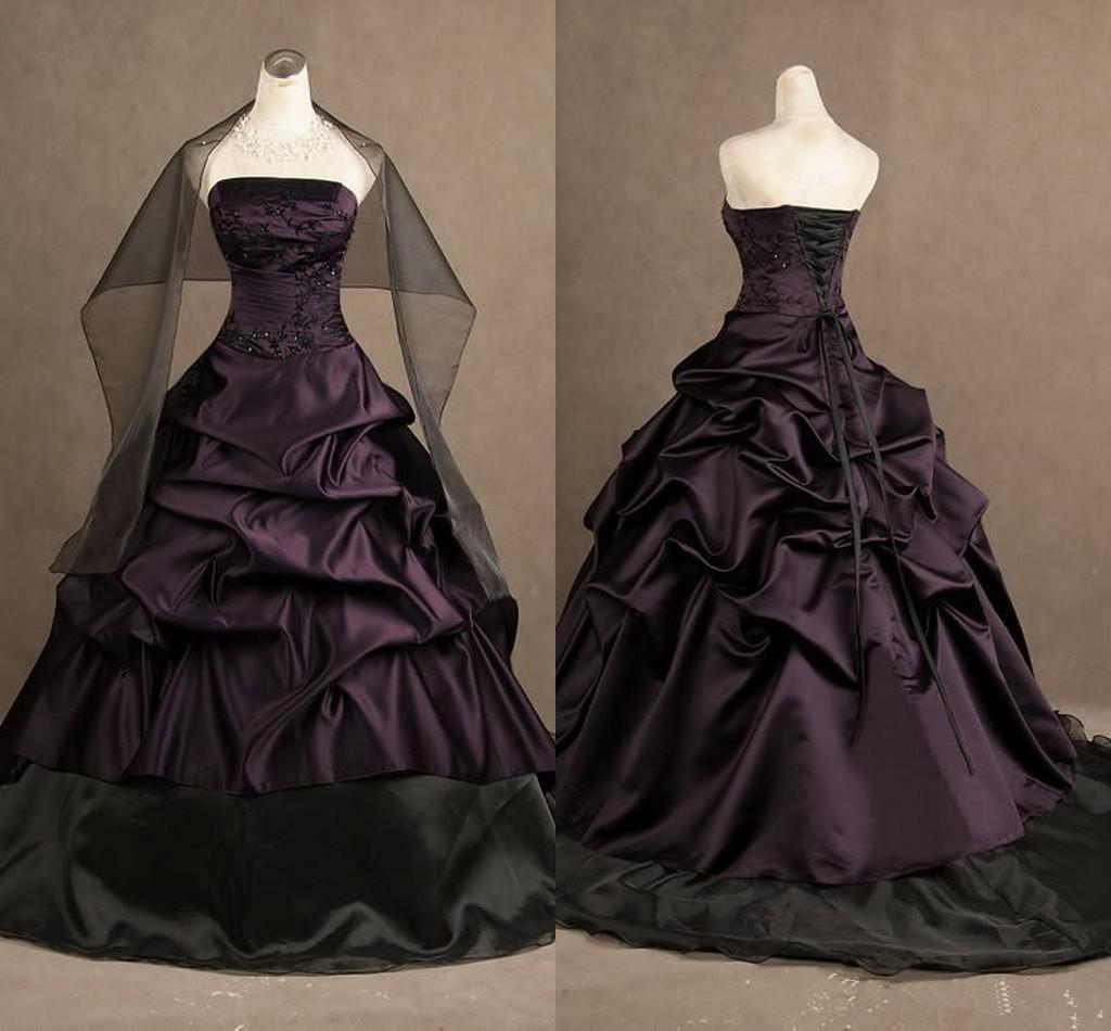 2019 Vintage Gothic Style Brautkleider Trägerlos Schwarz Drapiert Satin Ballkleid Brautkleider Schnüren Zurück Nach Maß W984