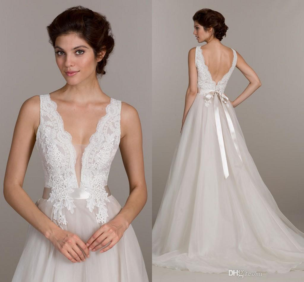 Discount 2016 New A Line Plunging Neckline Wedding Dresses Illusion ...