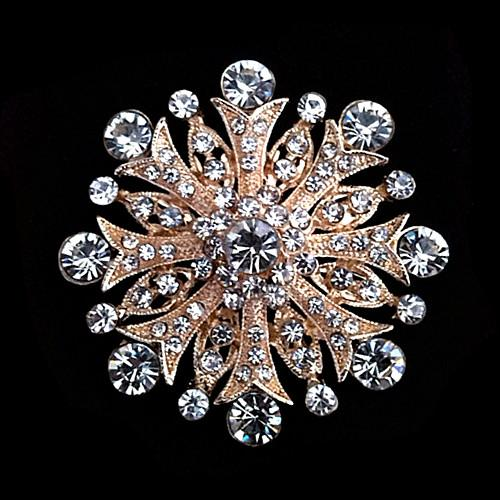 Rhodium Plated Clear Rhinestone Crystal Jewelry Large Flower Crystal Round Brooch for Wedding Invitation Pins Gift