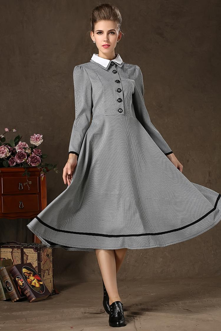 Women Long Vintage Dress Winter Autumn Full Sleeve Patchwork ...