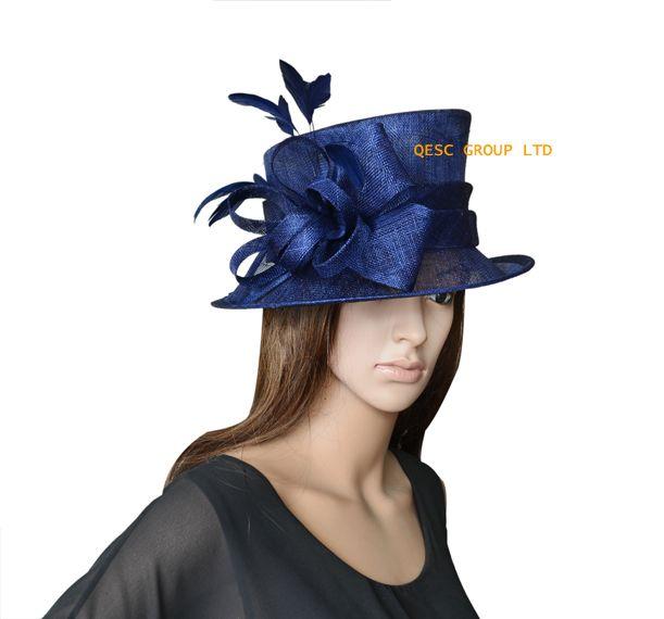 ケンタッキーダービー、結婚式、パーティー、アスコット、レースのためのネイビーブルーの新しいデザインレディース時々小さなSinamay教会の帽子