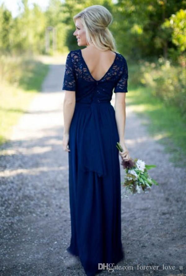 바닥 길이 다크 네이비 빈티지 레이스 시폰 신부 들러리 드레스 짧은 소매와 긴 공식적인 결혼식 파티 하녀 명예 가운 장식