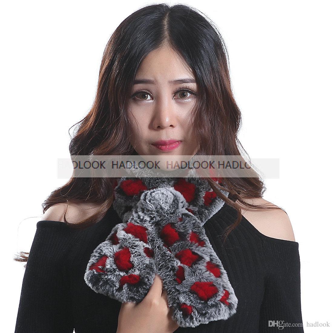 Women Fur Scarf Rabbit Fur Scarves Genuine Real Natural Scarves Muffler Cape Wraps Warm Winter Shawl Promotion Quality
