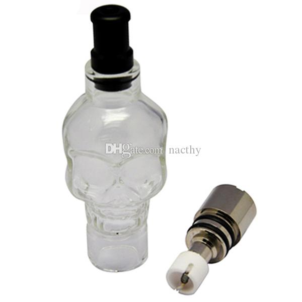 El gran tanque de cristal del vaporizador de la cera del vaporizador de la hierba seca del atomizador del globo de cristal del cráneo con la bobina de cerámica del metal de 5 Styls dirige para la batería de los cigarrillos del EGO E