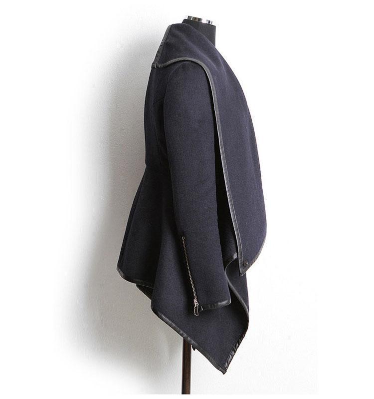 2016 Nueva Moda Otoño Invierno Abrigo de Lana Casacos De Inverno MulheresCuello Cuello Cremallera Mujer Chaqueta de Cabo poncho capa