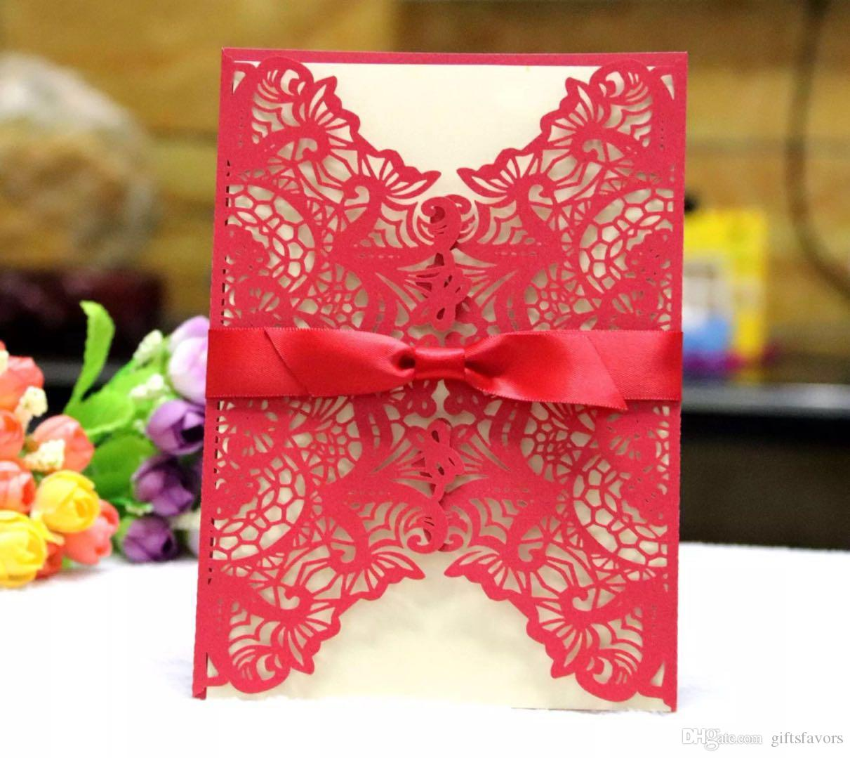Many Colors Wedding Invitations bridal shower invitation cards with envelope and blank card wholesales