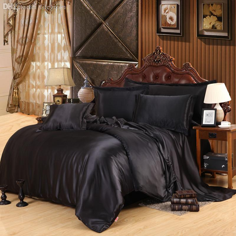 Wholesale-Home Textile Black Solid Silk Satin 4 Pcs Queen/King Size Luxury Bedding Sets Bedclothes Bed Linen Duvet Cover Set Bed Sheet