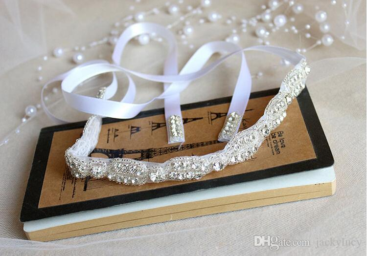 Upscale Rhinestone Pearl Headband Bridal Hair Headpiece Tiaras With Ribbon Wedding Dress Jewellery Accessories New Hot