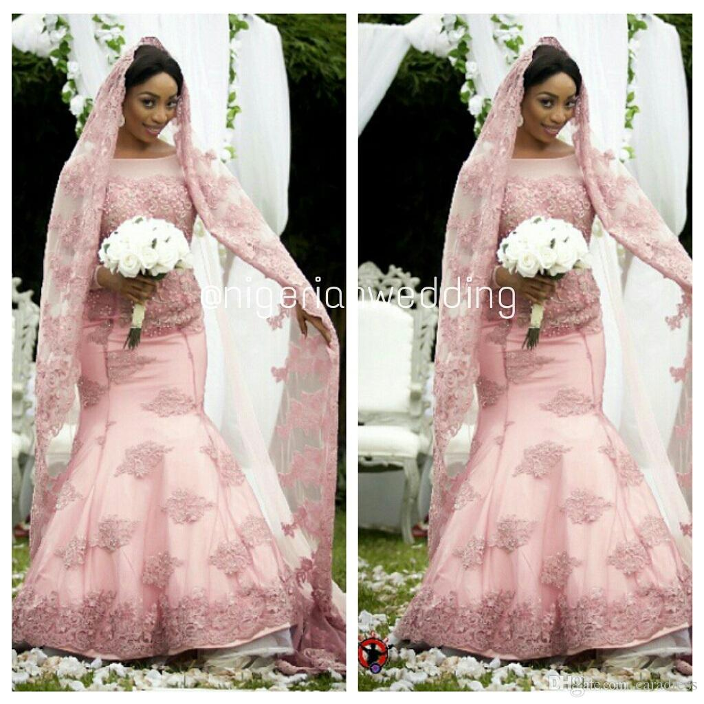 Discount Elegant Pink Mermaid African Wedding Dresses Lace