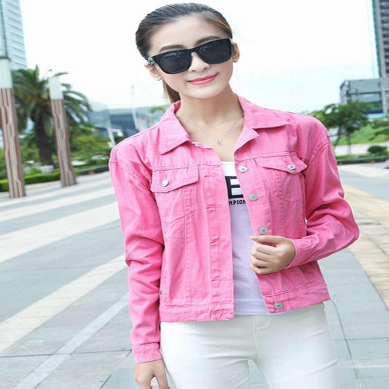 Women Pink Denim Jackets 2016 Spring Long Sleeve Slim Candy Color ...