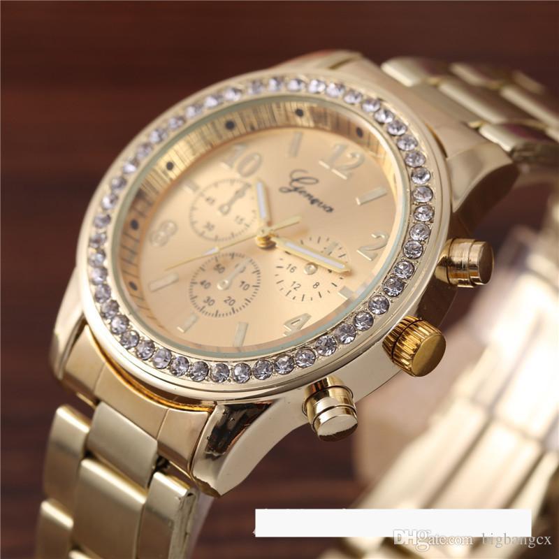 Luxe Legering Geneva Horloge Diamond Mannen Dames Drie Ogen Verlaging Metalen Band Roestvrijstalen Quartz Horloges