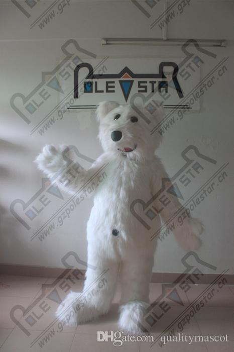 le plus populaire mascotte blanche longue fourrure blanc ours costume exportation costume blanc ours pour la fête