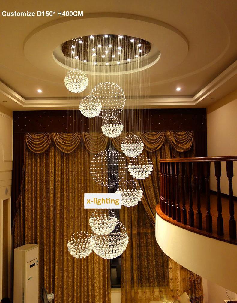 Discount Large Modern Globe Crystal Chandelier Led Lighting