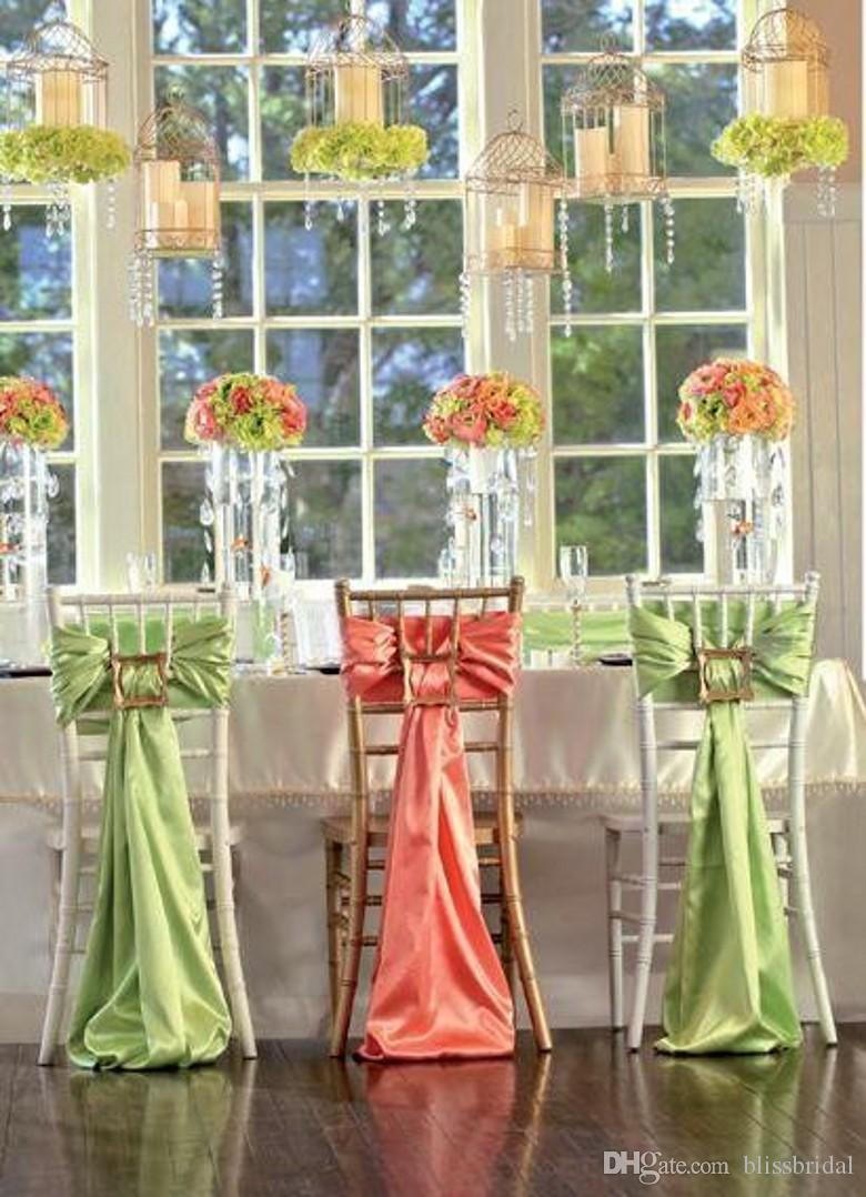 Two Color Orange And Green Satin Wedding Decorations Ribbon Chair