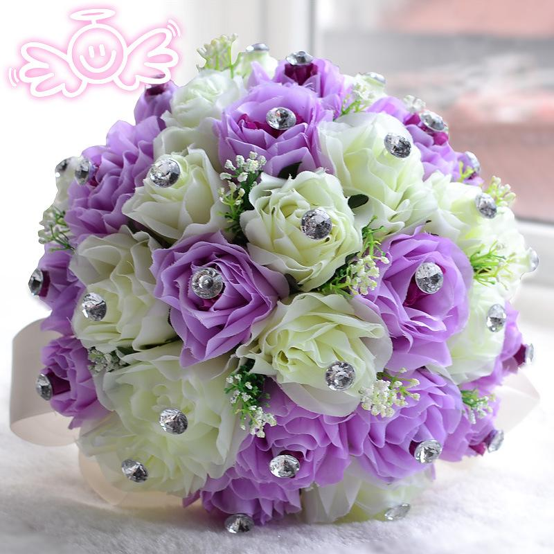 Lilac Bridal Wedding Bouquets Decoration Artificial Bridesmaid Holding Flowers Crystal Rose Bouquet For Party 2015 WF015