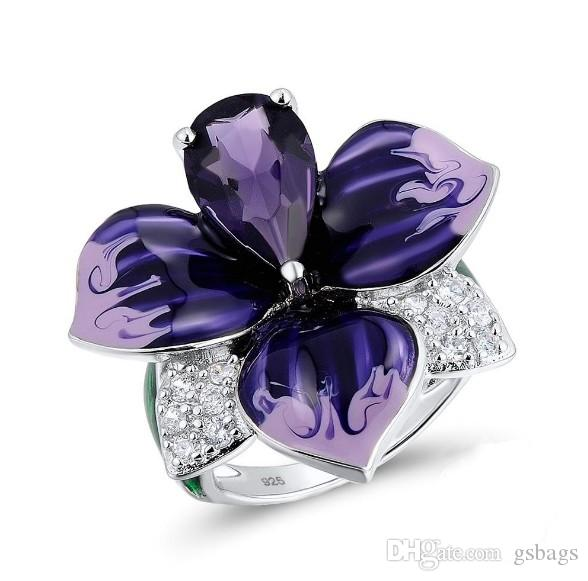 925 Sterling Silver Earrings ring and pendant Enamel cloisonne Handmade purple Flower Engagement For Women Cubic Zirconia Party Jewelry