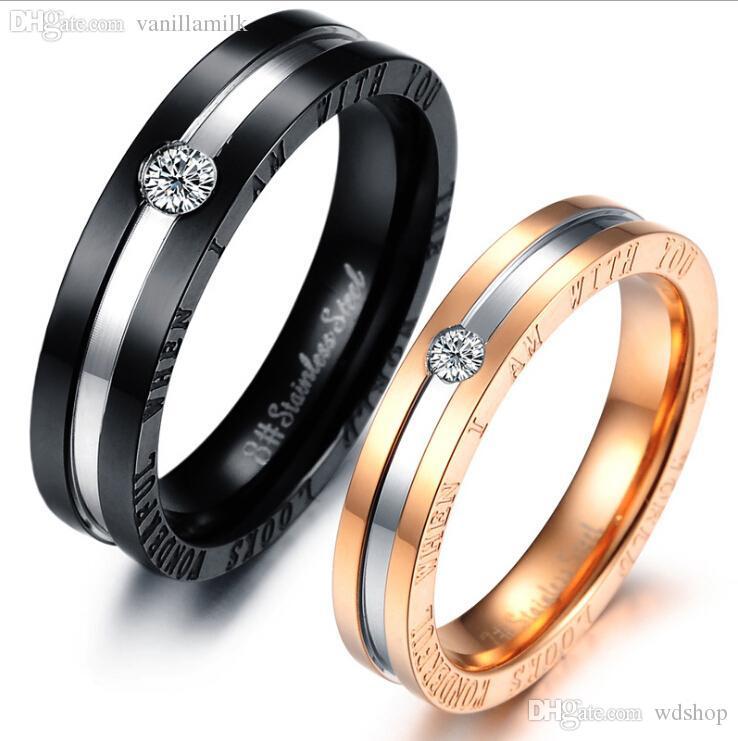 9cccd0470 Compre Atacado Moda Titanium Aço Anéis Casal Dele E Dela Promessa Anel  Conjuntos De Alianças De Casamento Amor Anel Preços Em Euros Anel De Pedra  De Wdshop